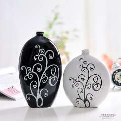 Modern fashion brief crafts decoration home decoration abstract black and white ceramics vase