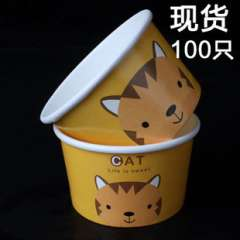Disposable cartoon ice cream bowls | cups thickened yogurt ice cream ice cream bowl packed bowl with lid 100