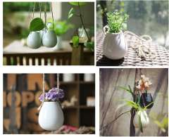 Freeshipping! 2014 Zakka Style Hanging Ceramic Vases White\Black Egg Flower Vase Hydroponic Container Home Decoration Gifts