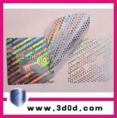 Supply different color of 3d honey comb hologram sticker