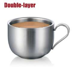 Creative fashion stainless steel double-layer anti-hot big soup cup juice cup milk cup coffee tea cup