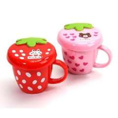 Solid color lidded cups strawberries / Strawberry Cup | Random colors