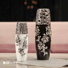 Furnishings ceramic home decoration vase modern brief relief sculpture rose silver plated cylinder vase free shipping (Black)