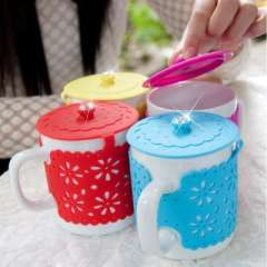 Fashion Diamond Lace glass / silicone cover anti-hot cups