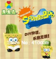 Free Shipping 2 PCS different style SpongeBob DIY REAL Grass Planting Little Table Vase Hair Man Plant Holiday Gift Home Decor