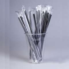 Individually wrapped tea straw extension / disposable plastic black straw / fruit juice smoothies straw 100