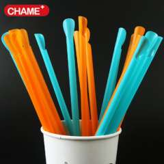 Create beautiful paper cups | Independent Orange spoon straws disposable plastic shovel Smoothie juice straw 100