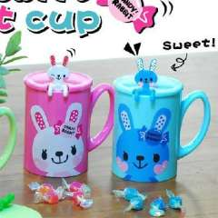 Sweet rabbit with a spoon covered cups | Color Random