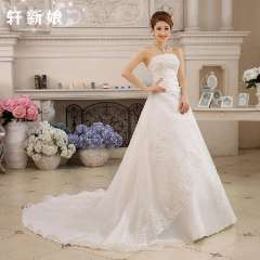 High Train New Designer Lace Sequins Pleats Princess Wedding Dress Women Lace-Up Ball Gown Sim Married customized Dropshipping