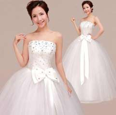 Hot Sale High Quality A-Line Wedding Dresses Brand New Strapless Bow CZ Bridal Gown FREE SHIPPING
