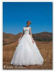 Dropship New Fashion Embroidery Lace-Up Bateau Vintage Wedding Dresses A-Line Tiers Women Married Famous Designer High Quality