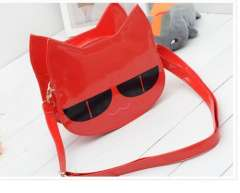 Cute cat head patent leather messenger bag