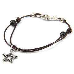 New Hand-woven Star And Ball Shape Alloy Rope Resin Bracelet with Adjustable Inner Diameter