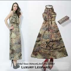 f691e99a83 Fashion Halter Neck Leopard Print Long Celebrity Dresses Strapless Beading  Ankle-Length Sleeveless Maxi Dress 2014 Spring Summer