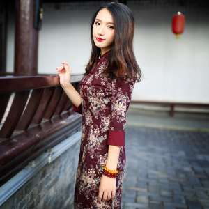 Wishful wind cheongsam dress 2020 autumn sleeves daily improvement Slim was thin in long section of the cheongsam dress 7719