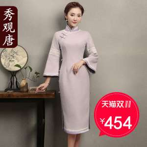 (Show view of the Tang) Chimney 2017 autumn and winter clothing to improve the daily retro dress national wind wool cheongsam dress skirt