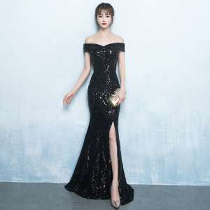 Banquet evening dress 2017 new elegant black long paragraph word shoulder sexy fish tail host dress female