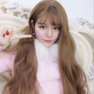 Net red with wigs long hair curls Korean air Liuhai big wave 60 round face simulation face fluffy temperament