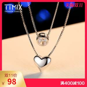 Ttmix double layer s925 silver necklace female Korean version jewelry simple pendant chain closure chain 520 gift to send girlfriend
