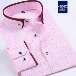 Spring men's fattening powder pink long-sleeved shirt fat people buckle the groom wedding wedding young shirt tide