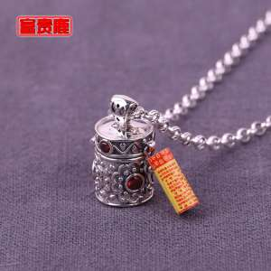 Rich deer | lady 925 silver garnet vials stingy curse pendant can be loaded powder Thai silver small box necklace