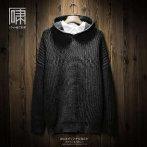 Autumn tide brand solid color hooded sweater | male Japanese retro personality loose trend sweater jacket