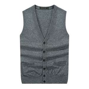 Autumn Men's Pure Color Cardigan Sweater Vest Thicker Knit Sweeper Old Men's Men's Accessories