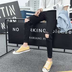 Summer thin section knees scraping broken jeans jeans men and women in Japan and South Korea version of the trend of black worn feet beggars pants