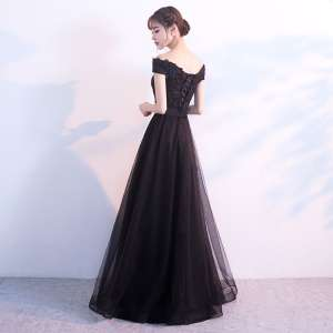 Black evening dress female 2017 new dignified atmosphere banquet chair long dress elegant long skirt