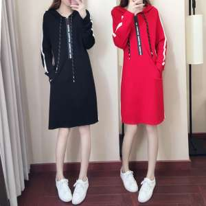 2017 Spring and Autumn new long-sleeved hedge sweater women Korean students in the long section bf loose casual sweater dress