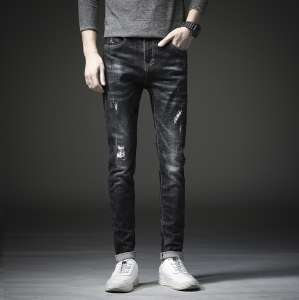 2017 new black hole loose Korean casual young men's tide brand small feet cowboy long pants autumn and winter