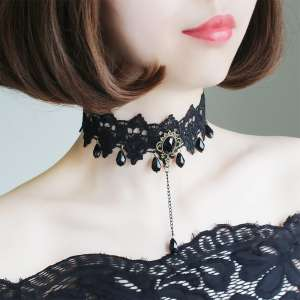 Korean version of the summer retro collar | female | Harajuku wide side lace lace neck jewelry personality simple temperament neck chain