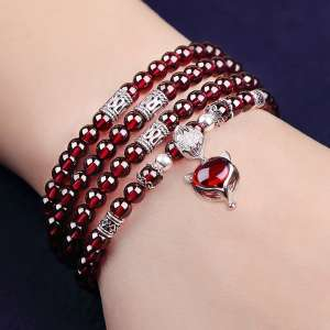 Po Lin margin of natural wine red garnet bracelet female multi-circle crystal necklace national wind hand string gift authentic