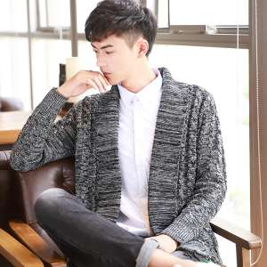 Cardigan sweater outside wearing 2017 autumn new Korean version of the trend sweater loose jacket thin sweater men