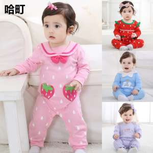 Female baby piecemeal clothing spring and autumn princess jeans bb baby clothes 0-3-6 months children's clothing 1-2 years old climbing