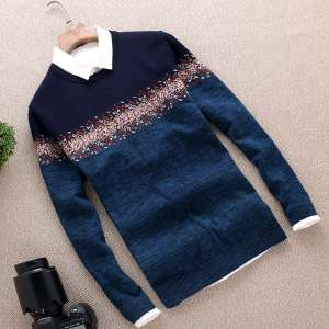 Spring and Autumn sweater men's thin round collar pullover Korean Slim large size coat sweater knitted bottoming shirt |
