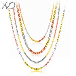 Selling 925 silver three-color gold and silver plated 18K female color gold color silver chain chain clavicle chain without pendants genuine girlfriend