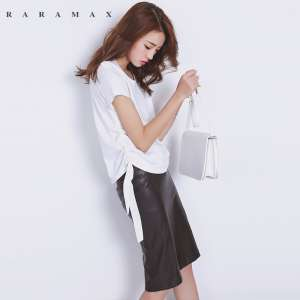 RARAMAX pleated design classic wild solid color mercerized cotton round neck short sleeve shirt T shirt female loose primer