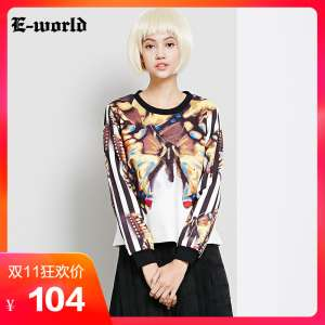 E-World / Clothing - | My 2017 Spring / Summer Women European & American Fashion Printed Long Sleeve T-Shirt A6248