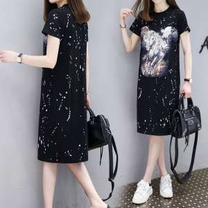 2017 summer new Korean fashion tide women's black short-sleeved printing t-shirt dress women mid-length skirt