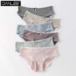 4 middle waist low waist knitting modal cotton underwear female Japanese girl lace edge comfortable breathable briefs pants thin