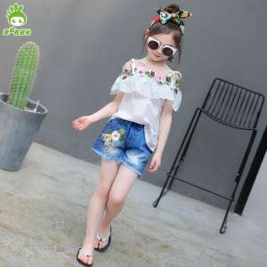 2017 new girls summer suit children summer embroidery harness t-shirt denim shorts sports two-piece tide