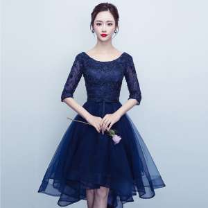 Evening dress 2017 new short paragraph dress large size female banquet long sleeve host short before the Changchun summer annual meeting