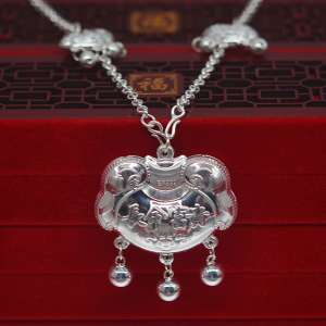 Hundreds of men and women children sterling silver collar s99 full silver long life lock baby full moon gift gift silver set lock