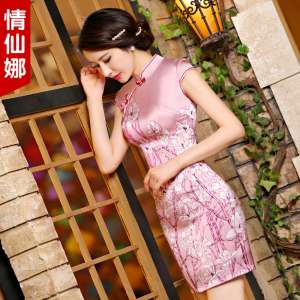 Love Xian Na 2017 new heavy silk silk daily silk retro retro Slim short cheongsam dress spring summer