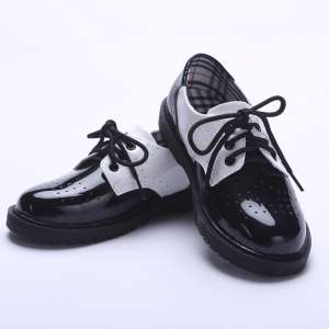 Clothing novice British boy black leather shoes small flower children children dress single shoes school performance performance shoes spring and autumn