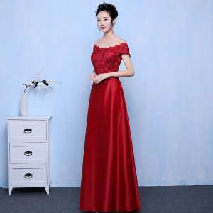 Satin dresses simple shoulder party evening dress long wedding wedding dress to increase the code 2017 new