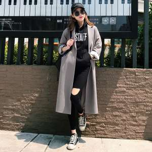 Autumn new chic Korean small suit jacket female loose casual suits lady coat knee long coat