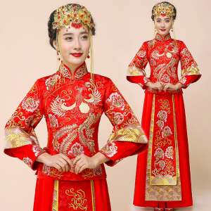 2017 spring and summer new show Wo service bride retro respect wine dress dress wedding costume Chinese wedding dress dragon and phoenix jacket