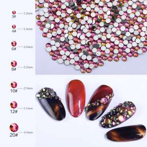 Nail ornaments nail stickers drilling diamonds flame drill color flat bottom drill DIY nail drill wholesale silver background colorful drilling